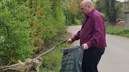 One of the litter pickers in action. Picture: SCDC