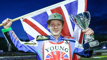British Under 19 Champion Dan Bewley pictured with his trophy after the meeting at Foxhall Stadium l