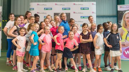 Judy Murray with the young players at the Elena Baltacha Foundation. Picture: PAVEL KRICKA