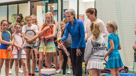 Judy Murray coaching during her trip to the Elena Baltacha Foundation in Ipswich. Picture: PAVEL KRI
