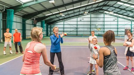Judy Murray takes part in games and drills with young players at the Elena Baltacha Foundation. Pict