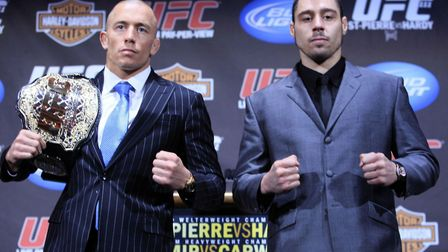 Dan Hardy, right, with Georges St Pierre before their UFC title fight - Hardy sees a lot of similari
