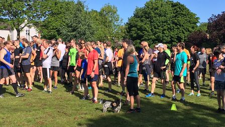 Runners, joggers and walkers mingle before the start of last Saturday's Great Dunmow parkrun. Pictur