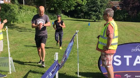 Runners approach the finish funnel at the Great Dunmow parkrun on Saturday. Picture: CARL MARSTON