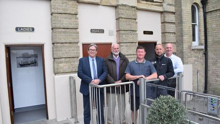Ian Taylor, head of public realm, councillor Mick Skeels, two members of TDC�s engineering team, and
