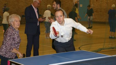 West Suffolk MP Matt Hancock tries his hand at table tennis Picture: PHIL MORLEY