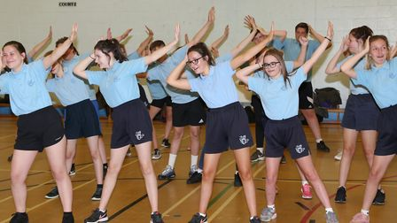 Youngsters from IES Breckland School taking part in Keep Active celebration in Brandon Picture: PHIL