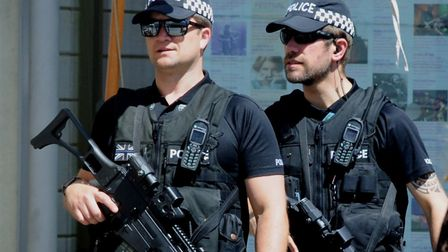 Armed police patrolling the streets in Suffolk Picture: ANDY ABBOTT