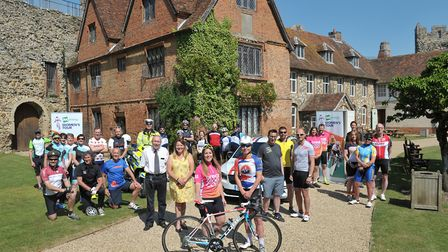 Riders gather at Framlingham Castle for the Women's Tour media ride Picture: SARAH LUCY BROWN