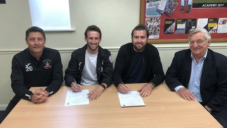 New signings at Needham: left to right, Rchard Wilkins (manager), Joe Marsden, Jake Jessop and Keith