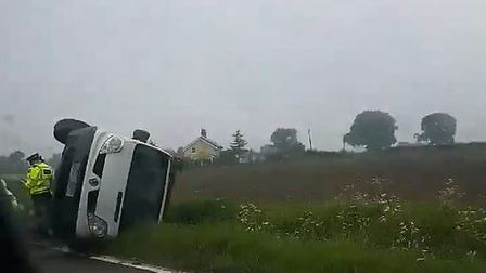 Van turned over in Hadleigh. Picture: CHARLOTTE GOFF