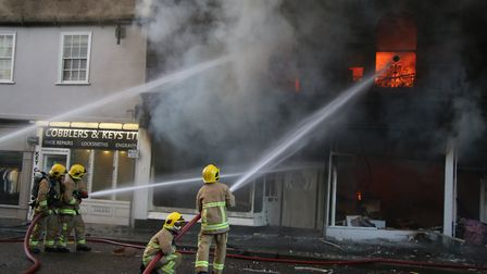 Fire crews tackle a major blaze in the centre of Sudbury Picture: SUFFOLK COUNTY COUNCIL