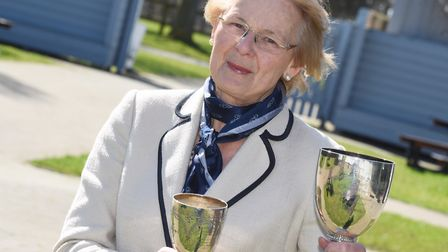 Baroness Hazel Byford, this year's president of the Suffolk Agricultural Association with some of th