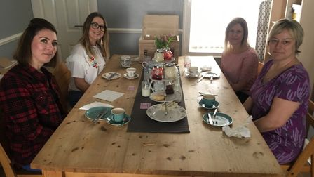 My guests and I enjoying the delivery from Carly's Afternoon Tea, which has just launched in Suffolk