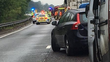 The scene of the crash on the A14 Picture: CONTRIBUTED