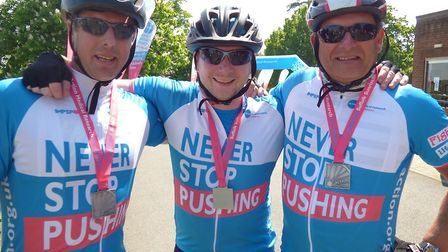 Rob Herst, Paul Humphreys, Philip Humphreys take on the Suffolk Sunrise Picture: ACTION MEDICAL RESE