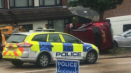 The accident today in Radcliffe Drive in Ipswich Picture: CONTRIBUTED