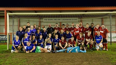 Ipswich Town Ladies and Ipswich Town Talk raised £500 for charity Picture: PHIL CHAPLIN