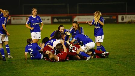 Players from both sides celebrate after Will Neller ends his goal drought Picture: PHIL CHAPLIN