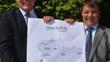 Leader of Forest Heath District Council James Waters (right) with St Edmundsbury Borough Council lea