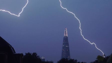 Lightning over The Shard in central London on Saturday Picture: @samueltwilkinson/PA Wire.