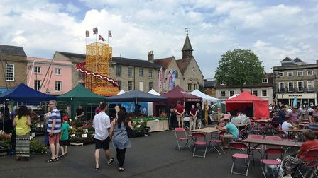 Food and drink stalls on the Cornhill for the Bury St Edmunds Whitsun Fayre Picture: MICHAEL STEWARD