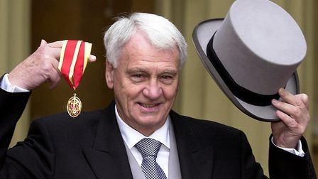 Sir Bobby Robson at Buckingham Palace, after he was knighted by the Prince of Wales. Picture: MICHAE