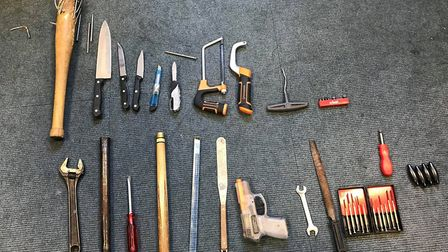 Weapons seized in Bury St Edmunds Picture: NORFOLK AND SUFFOLK ROADS POLICING AND FIREARMS UNIT