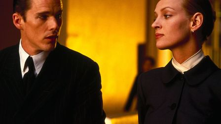 Ethan Hawke and Uma Thurman in the science fiction thriller Gattaca which looks at a distubing futur