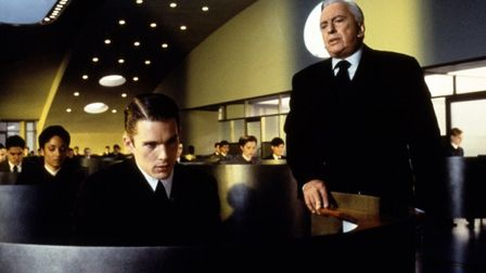 Ethan Hawke and Gore Vidal in the science fiction thriller Gattaca which looks at a distubing futur