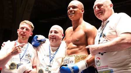 Fabrio Wardley and his team after his knockout win at the Ipswich Corn Exchange. Picture: GEOFF SMIT