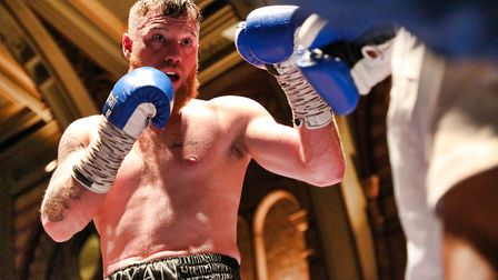 Ray Moylette won by stoppage at the Ipswich Corn Exchange. Picture: GEOFF SMITH/TOP-PIC-PHOTOGRAPHY