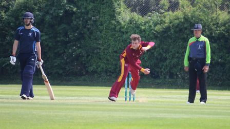 Billy Moulton-Day bowling for Suffolk against Bedfordshire at Bury St Edmunds Photo: NICK GARNHAM