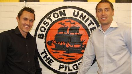 Paul Hurst and Rob Scott were appointed joint managers of Boston in 2009. Picture: Boston United/Twi