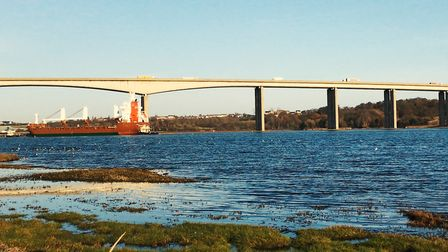 The fire happened near to the Orwell Bridge. Picture: ARCHANT
