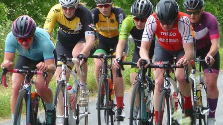 The leading group in the women's race at Diss – Frankie Hall (far left) and winner Alex Clay (far ri