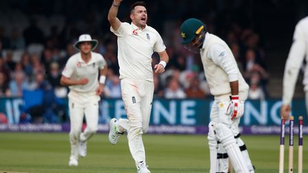 England's James Anderson celebrates the wicket of Pakistan's Faheem Ashraf during day two of the Fir