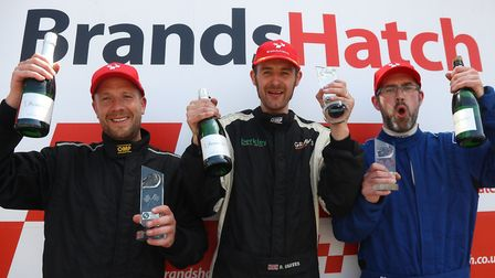 David Graves, centre, celebrates his win in the Toyo Tires Production BMW Championship. Picture: SNA
