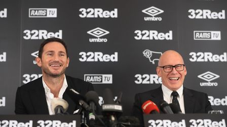 New Derby County manager Frank Lampard and owner Melvyn Morris (right). Picture: PA