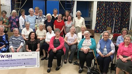 Members of the Ladies Open Door Club, in Newmarket, who have handed over £150 to the My WiSH Charity