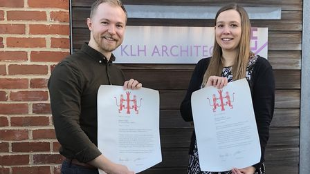 Stuart Edgar and Nicola Gulliver of KLH Architects have become certified architects Picture: KLH ARC