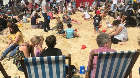 The sandy beach at the Whitsun Fayre in Bury St Edmunds