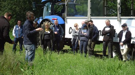 Delegrates gather at an Integrated Farm Management Field Event hosted by LEAF at Elveden Estate in M