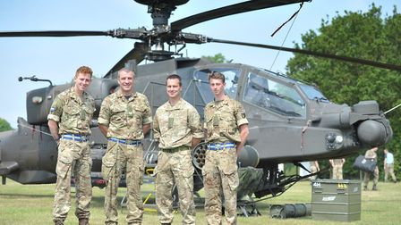 The Apache helicopter will be at the show. From left: Air Trooper Terry, Sgt Spencer, Air Trooper St