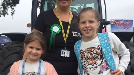 Keeley, Mel and Eloisie Utteride at the Easton and Otley main marquee at the Suffolk Show. Picture: