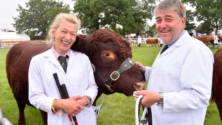 Judging of the Cattle Inter-Breed Championships-Beef at the Suffolk Show 2018. Natasha and Richard M