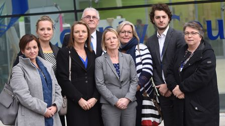 Teachers and parents making their case against the proposed cuts to school transport. Picture: GREGG