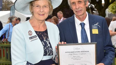 Suffolk Show President Baroness Byford presents a Long Service Award to Richard Carter for 41 years