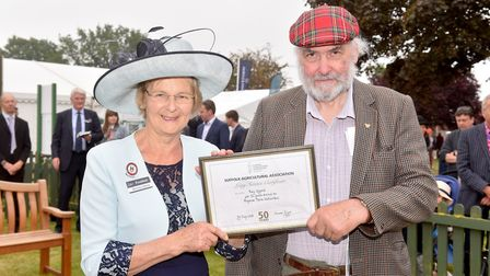 Roy Offord receiving an award for 52 years of service from Suffolk Show President Baroness Byford P