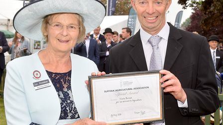 Suffolk Show President Baroness Byford presents a special award to Mark Barnes for his services to a